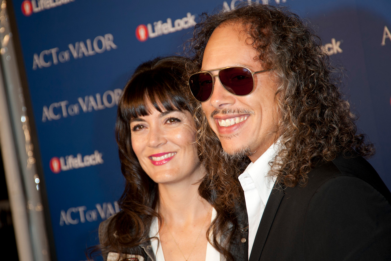 HOLLYWOOD, CA - FEBRUARY 13: Kirk Hammett of Metallica and his wife Lani arrive at the premiere of Relativity Media's 'Act Of Valor' held at ArcLight Cinemas on February 13, 2012 in Hollywood, California. Photo taken by Tom Sorensen/Moovieboy Pictures.