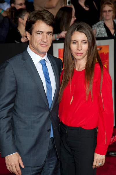 """LOS ANGELES, CA - FEBRUARY 22: Actor Dermot Mulroney (L) and Tharita Catulle arrive at the world premiere of Disney's """"John Carter"""" on Wednesday. February 22, 2012 at Regal Cinemas in downtown Los Angeles. Photo taken by Tom Sorensen/Moovieboy Pictures."""