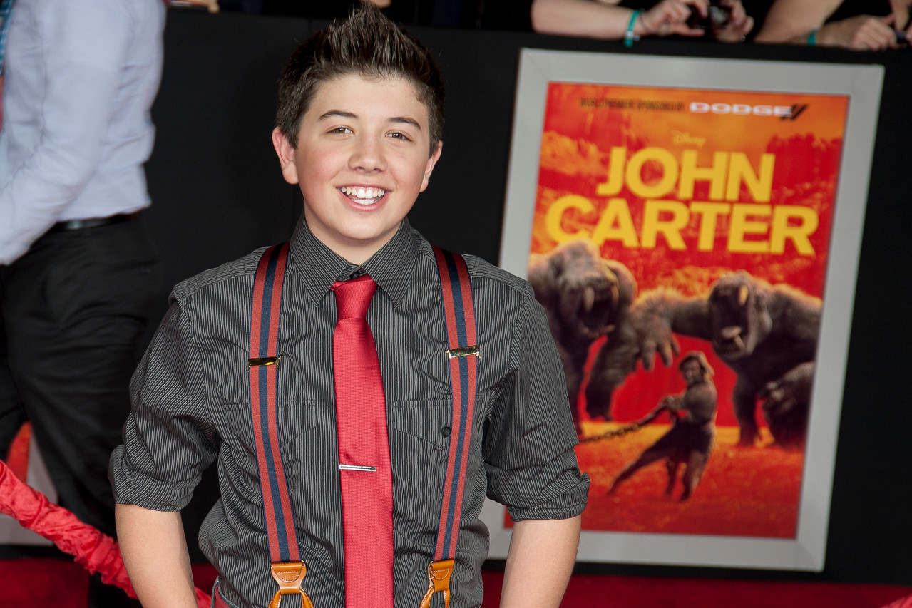 "LOS ANGELES, CA - FEBRUARY 22: Actor Bradley Steven Perry arrives at the world premiere of Disney's ""John Carter"" on Wednesday. February 22, 2012 at Regal Cinemas in downtown Los Angeles. Photo taken by Tom Sorensen/Moovieboy Pictures."