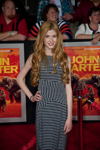 """LOS ANGELES, CA - FEBRUARY 22: Actress Katherine McNamara arrives at the world premiere of Disney's """"John Carter"""" on Wednesday. February 22, 2012 at Regal Cinemas in downtown Los Angeles. Photo taken by Tom Sorensen/Moovieboy Pictures."""