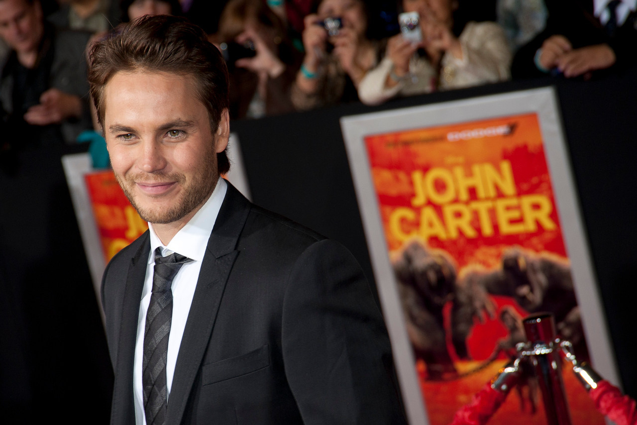 "LOS ANGELES, CA - FEBRUARY 22: Actor Taylor Kitsch arrives at the world premiere of Disney's ""John Carter"" on Wednesday. February 22, 2012 at Regal Cinemas in downtown Los Angeles. Photo taken by Tom Sorensen/Moovieboy Pictures."