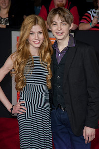 """LOS ANGELES, CA - FEBRUARY 22: Actress Katherine McNamara and actor Dylan Riley Snyder arrive at the world premiere of Disney's """"John Carter"""" on Wednesday. February 22, 2012 at Regal Cinemas in downtown Los Angeles. Photo taken by Tom Sorensen/Moovieboy Pictures."""