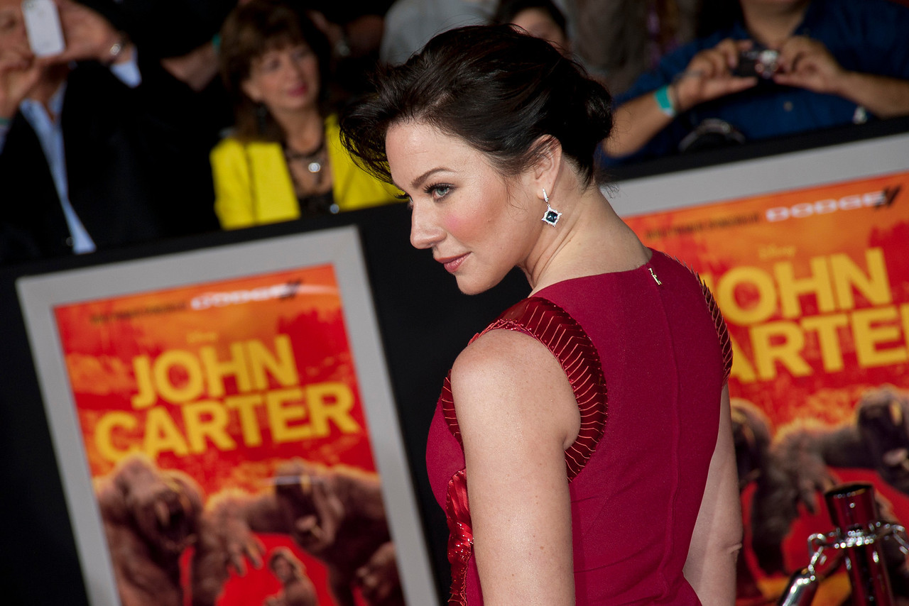 """LOS ANGELES, CA - FEBRUARY 22: Actress Lynn Collins arrives at the world premiere of Disney's """"John Carter"""" on Wednesday. February 22, 2012 at Regal Cinemas in downtown Los Angeles. Photo taken by Tom Sorensen/Moovieboy Pictures."""