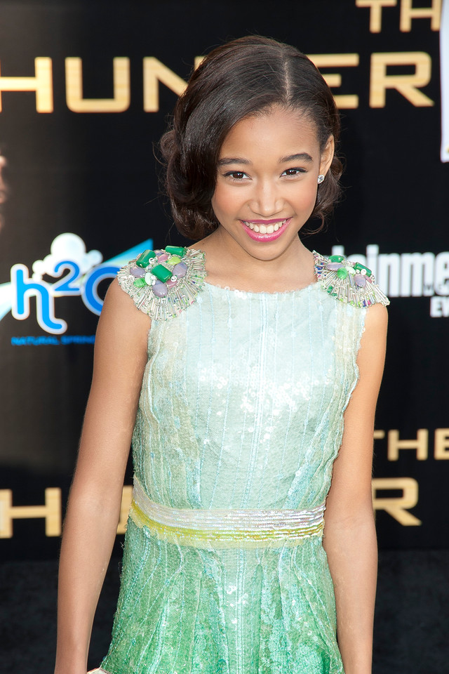 LOS ANGELES, CA - MARCH 12: Actress Amandla Stenberg arrives at the premiere of Lionsgate's 'The Hunger Games' at Nokia Theatre L.A. Live on Monday, March 12, 2012 in Los Angeles, California. Photo taken by Tom Sorensen/Moovieboy Pictures.
