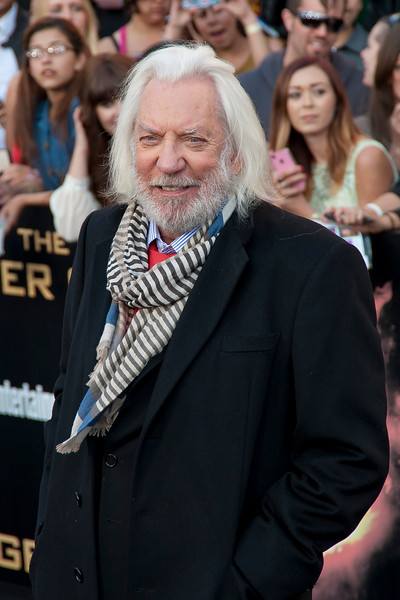 LOS ANGELES, CA - MARCH 12: Actor Donald Sutherland arrives at the premiere of Lionsgate's 'The Hunger Games' at Nokia Theatre L.A. Live on Monday, March 12, 2012 in Los Angeles, California. Photo taken by Tom Sorensen/Moovieboy Pictures.