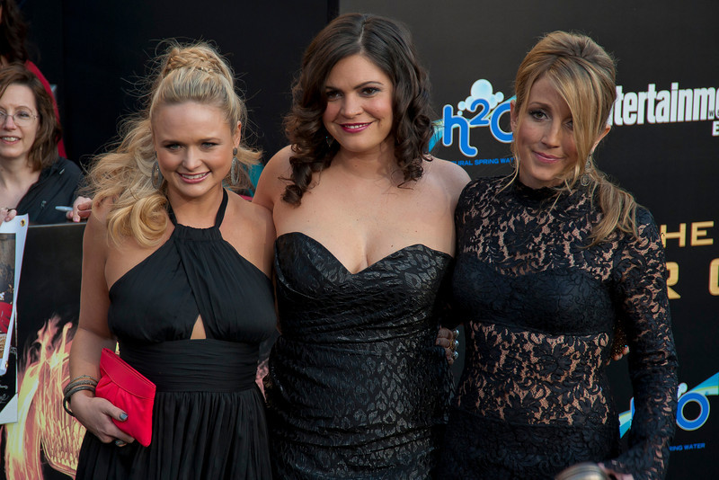 LOS ANGELES, CA - MARCH 12: (L-R) Musicians Miranda Lambert, Angaleena Presley and Ashley Monroe of The Pistol Annies arrive at the premiere of Lionsgate's 'The Hunger Games' at Nokia Theatre L.A. Live on Monday, March 12, 2012 in Los Angeles, California. Photo taken by Tom Sorensen/Moovieboy Pictures.