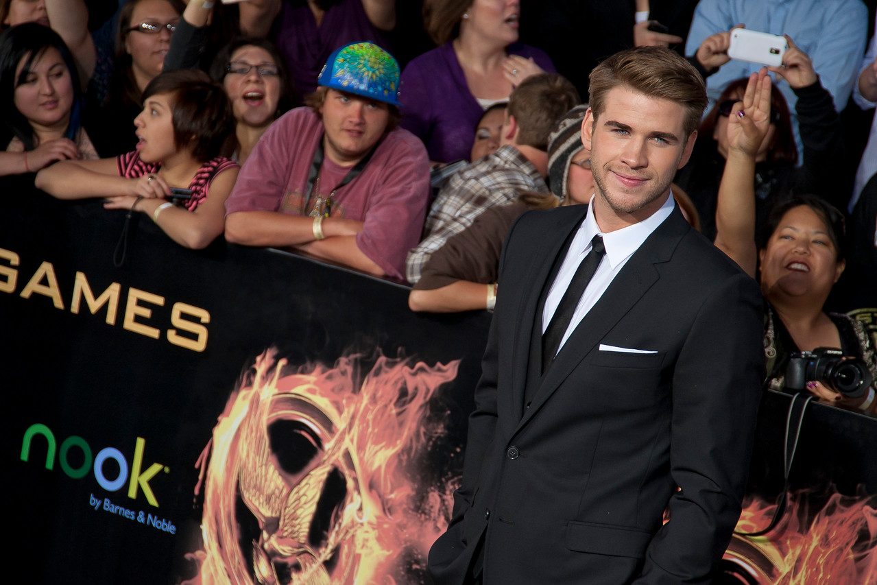 LOS ANGELES, CA - MARCH 12: Actor Liam Hemsworth arrives at the premiere of Lionsgate's 'The Hunger Games' at Nokia Theatre L.A. Live on Monday, March 12, 2012 in Los Angeles, California. Photo taken by Tom Sorensen/Moovieboy Pictures.