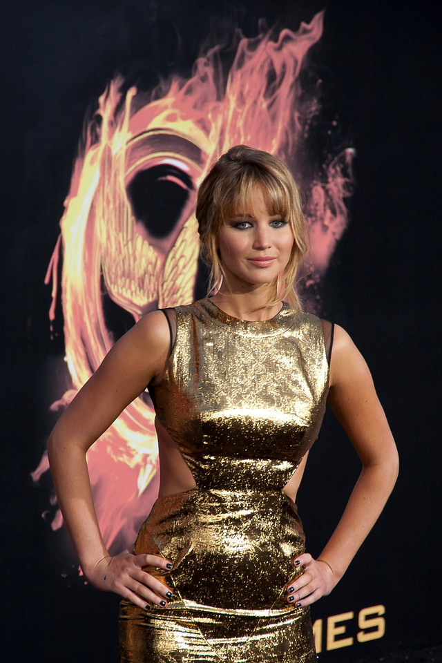 LOS ANGELES, CA - MARCH 12: Actress Jennifer Lawrence arrives at the premiere of Lionsgate's 'The Hunger Games' at Nokia Theatre L.A. Live on Monday, March 12, 2012 in Los Angeles, California. Photo taken by Tom Sorensen/Moovieboy Pictures.