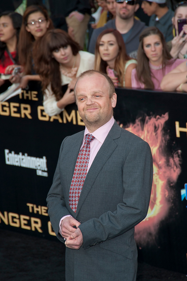 LOS ANGELES, CA - MARCH 12: Actor Toby Jones arrives at the premiere of Lionsgate's 'The Hunger Games' at Nokia Theatre L.A. Live on Monday, March 12, 2012 in Los Angeles, California. Photo taken by Tom Sorensen/Moovieboy Pictures.