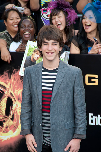 LOS ANGELES, CA - MARCH 12: Actor Zachary Gordon Linger arrives at the premiere of Lionsgate's 'The Hunger Games' at Nokia Theatre L.A. Live on Monday, March 12, 2012 in Los Angeles, California. Photo taken by Tom Sorensen/Moovieboy Pictures.