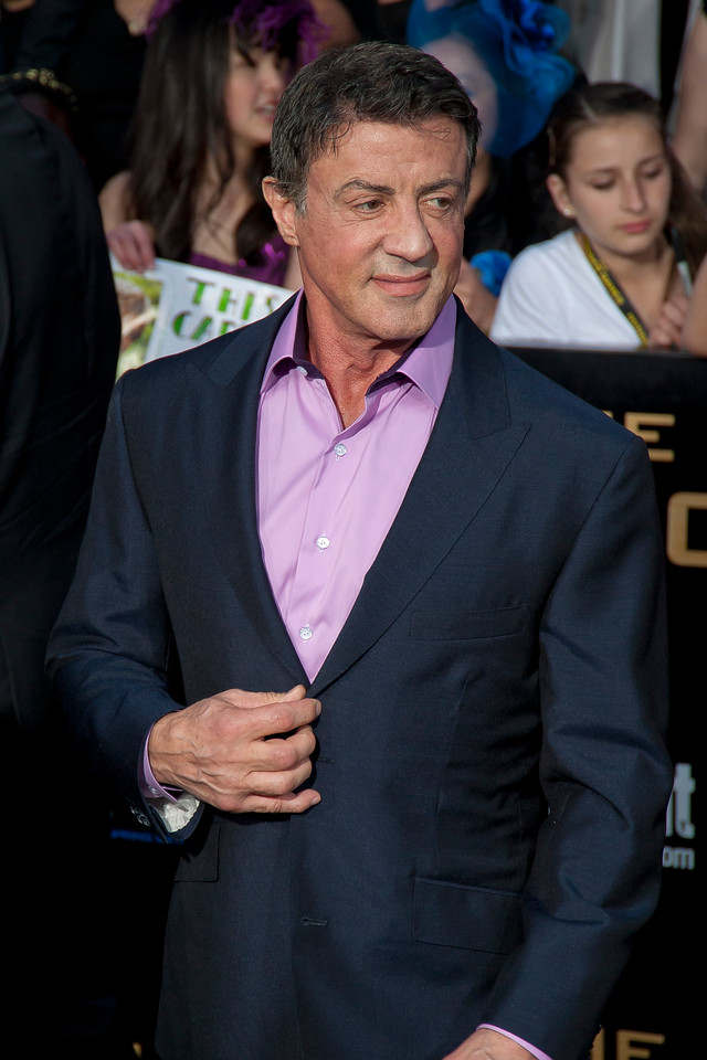 LOS ANGELES, CA - MARCH 12: Actor Sylvester Stallone arrives at the premiere of Lionsgate's 'The Hunger Games' at Nokia Theatre L.A. Live on Monday, March 12, 2012 in Los Angeles, California. Photo taken by Tom Sorensen/Moovieboy Pictures.