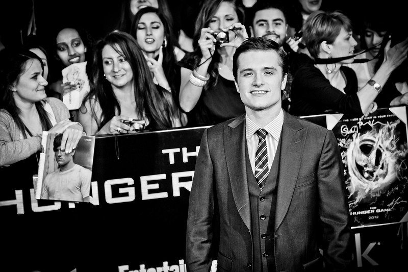LOS ANGELES, CA - MARCH 12: Actor Josh Hutcherson arrives  at the premiere of Lionsgate's 'The Hunger Games' at Nokia Theatre L.A. Live on Monday, March 12, 2012 in Los Angeles, California. Photo taken by Tom Sorensen/Moovieboy Pictures.
