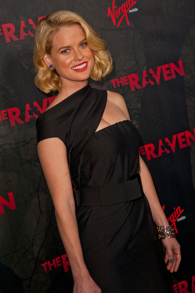 LOS ANGELES, CA - APRIL 23: Actress Alice Eve arrives at the Los Angeles premiere of Relativity Media's 'The Raven' held at the Los Angeles Theatre on April 23, 2012 in Los Angeles, California. Photo taken by Tom Sorensen/Moovieboy Pictures.