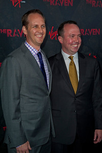 LOS ANGELES, CA - APRIL 23: Producers Trevor Macy (L) and Mark D. Evans arrive at the Los Angeles premiere of Relativity Media's 'The Raven' held at the Los Angeles Theatre on April 23, 2012 in Los Angeles, California. Photo taken by Tom Sorensen/Moovieboy Pictures.