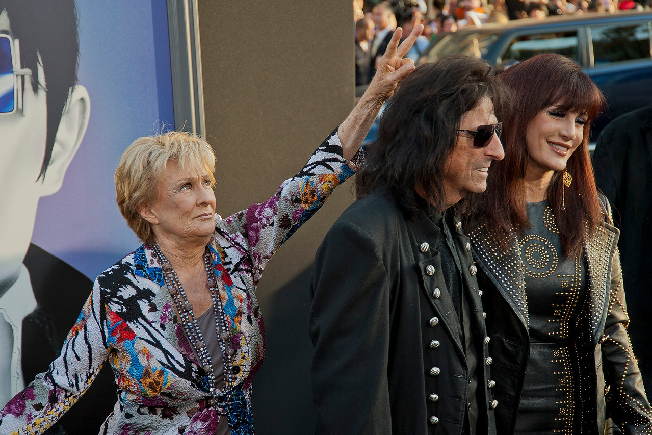HOLLYWOOD, CA - MAY 07: Actress Cloris Leachman, musician Alice Cooper and Cheryl Cooper  arrive at the Los Angeles premiere of 'Dark Shadows' held at Grauman's Chinese Theatre on May 7, 2012 in Hollywood, California. (Photo by Tom Sorensen/Moovieboy Pictures)