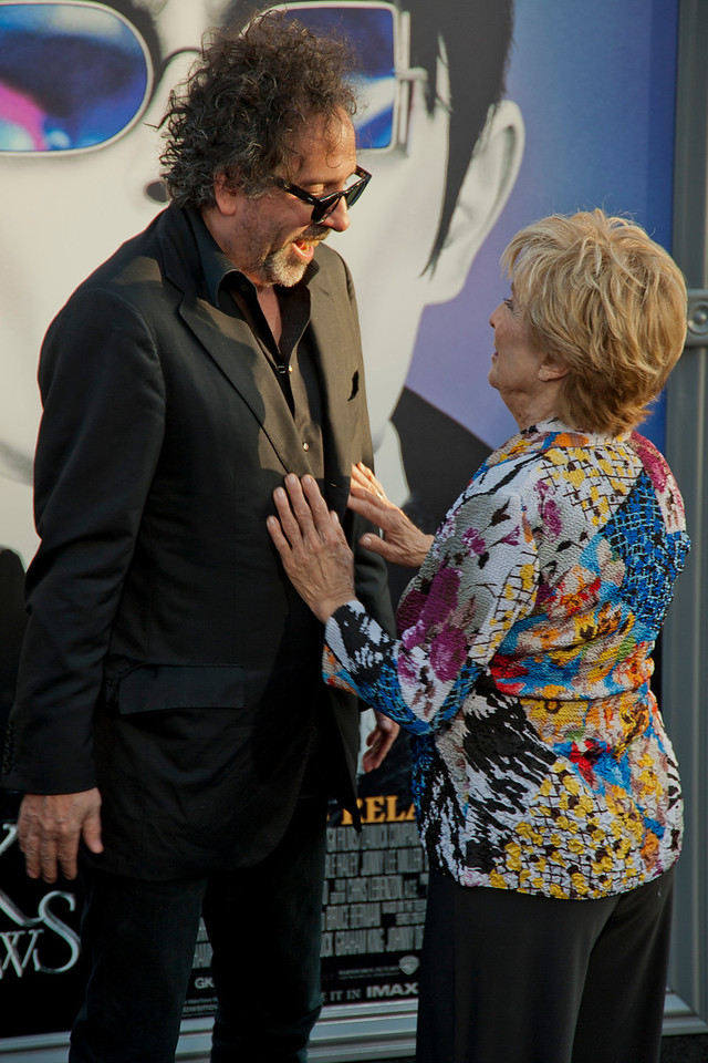 HOLLYWOOD, CA - MAY 07: Director Tim Burton and actress Cloris Leachman arrive at the Los Angeles premiere of 'Dark Shadows' held at Grauman's Chinese Theatre on May 7, 2012 in Hollywood, California. (Photo by Tom Sorensen/Moovieboy Pictures)