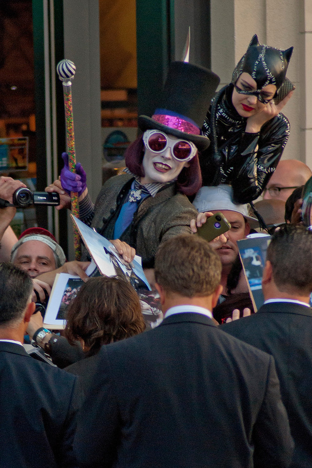 HOLLYWOOD, CA - MAY 07: Actor Johnny Depp meets with the crowd gathered at the Los Angeles premiere of 'Dark Shadows' held at Grauman's Chinese Theatre on May 7, 2012 in Hollywood, California. (Photo by Tom Sorensen/Moovieboy Pictures)