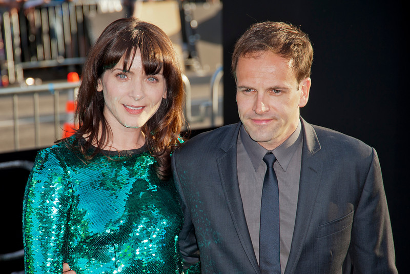 HOLLYWOOD, CA - MAY 07: Actor Jonny Lee Miller (R) and wife Michele Hicks arrive at the Los Angeles premiere of 'Dark Shadows' held at Grauman's Chinese Theatre on May 7, 2012 in Hollywood, California. (Photo by Tom Sorensen/Moovieboy Pictures)
