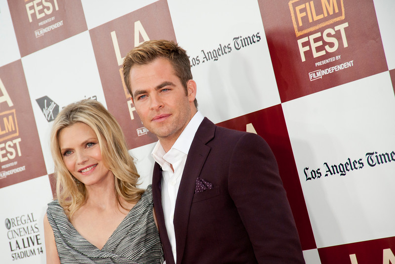 LOS ANGELES, CA: Actors Michelle Pfeiffer and Chris Pine arrive at the 2012 Los Angeles Film Festival premiere of 'People Like Us' at Regal Cinemas L.A. LIVE Stadium 14 on June 15, 2012 in Los Angeles, California. (Photo by Tom Sorensen/Moovieboy Pictures)