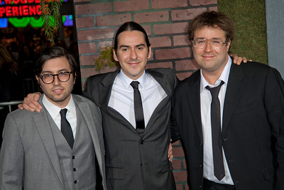 HOLLYWOOD, CA - FEBRUARY 06: (L-R) Composers Jonathan Sadoff, Dhani Harrison and Paul Hicks attend the Los Angeles premiere of Warner Bros. Pictures' 'Beautiful Creatures' at TCL Chinese Theatre on Wednesday February 6, 2013 in Hollywood, California. (Photo by Tom Sorensen/Moovieboy Pictures)