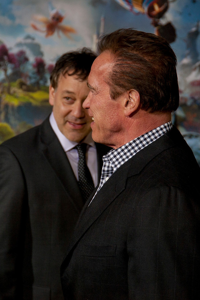HOLLYWOOD; CA - FEBRUARY 13: Director Sam Raimi and Actor Arnold Schwarzenegger arrive at the world premiere of Walt Disney Pictures' 'Oz The Great And Powerful' at the El Capitan Theatre on Wednesday February 13; 2013 in Hollywood; California. (Photo by Tom Sorensen/Moovieboy Pictures)