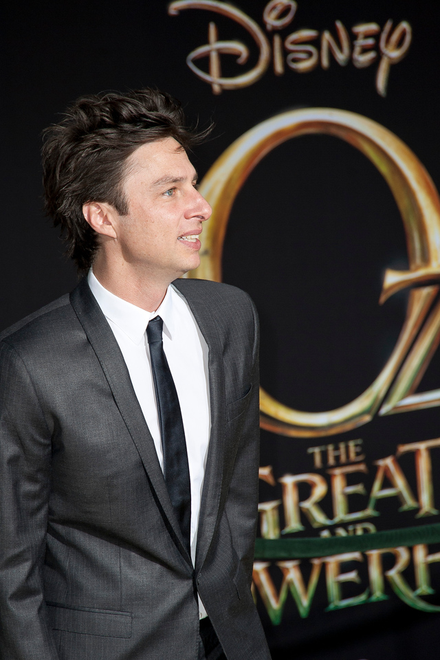 HOLLYWOOD; CA - FEBRUARY 13: Actor Zach Braff arrives at the world premiere of Walt Disney Pictures' 'Oz The Great And Powerful' at the El Capitan Theatre on Wednesday February 13; 2013 in Hollywood; California. (Photo by Tom Sorensen/Moovieboy Pictures)