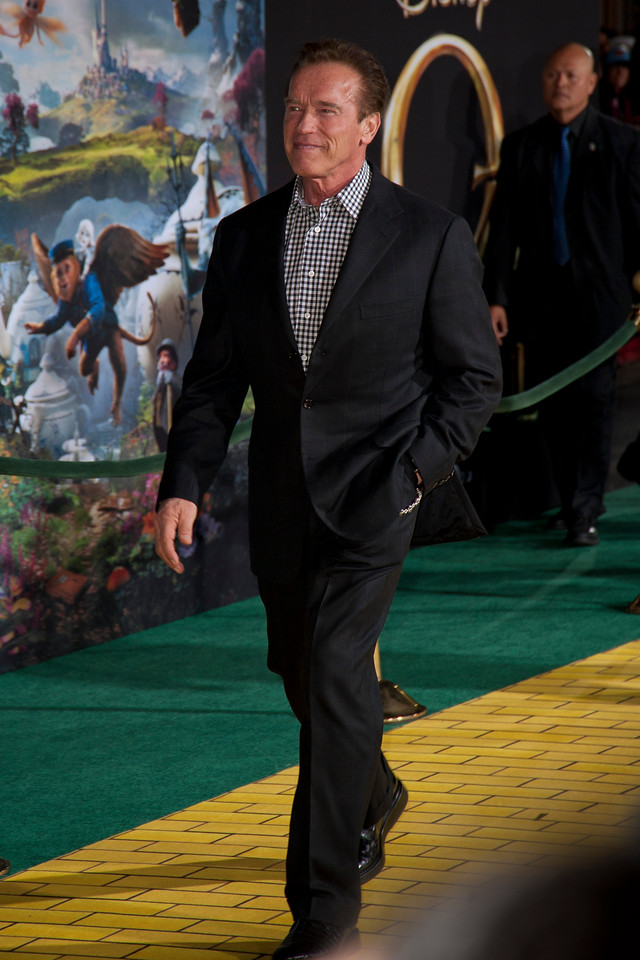 HOLLYWOOD; CA - FEBRUARY 13: Actor Arnold Schwarzenegger arrives at the world premiere of Walt Disney Pictures' 'Oz The Great And Powerful' at the El Capitan Theatre on Wednesday February 13; 2013 in Hollywood; California. (Photo by Tom Sorensen/Moovieboy Pictures)