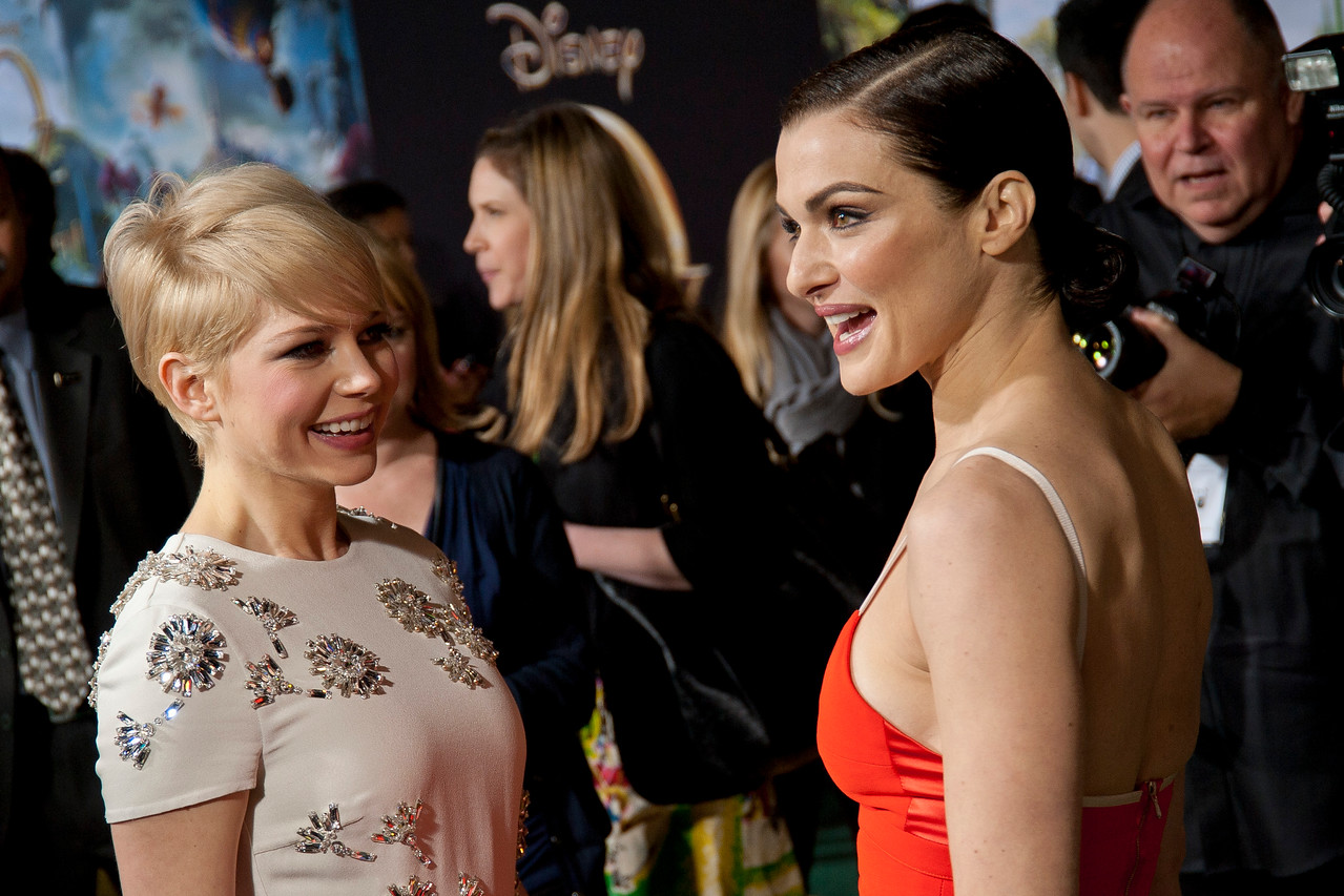 HOLLYWOOD; CA - FEBRUARY 13: Actresses Michelle Williams and Rachel Weisz arrive at the world premiere of Walt Disney Pictures' 'Oz The Great And Powerful' at the El Capitan Theatre on Wednesday February 13; 2013 in Hollywood; California. (Photo by Tom Sorensen/Moovieboy Pictures)