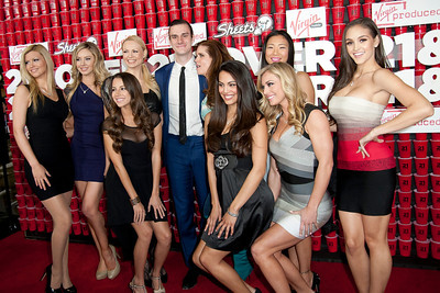 WESTWOOD, CA - FEBRUARY 21: Cooper Hefner (C) and Playboy Models attend Relativity Media's '21 and Over' premiere at Westwood Village Theatre on Thursday, February 21, 2013 in Westwood, California. (Photo by Tom Sorensen/Moovieboy Pictures)