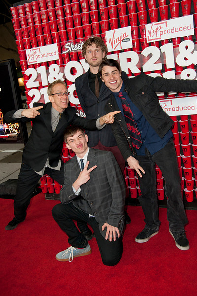 WESTWOOD, CA - FEBRUARY 21: (Clockwise from top) Jacob Dick,  Lucas Dick, actor Paris Dylan and actor Andy Dick attend Relativity Media's '21 and Over' premiere at Westwood Village Theatre on Thursday, February 21, 2013 in Westwood, California. (Photo by Tom Sorensen/Moovieboy Pictures)