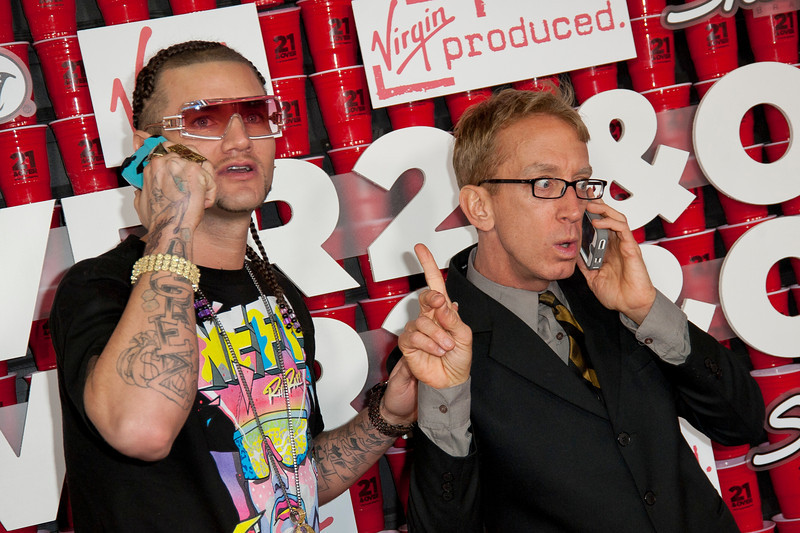 WESTWOOD, CA - FEBRUARY 21: Riff Raff and actor Andy Dick attend Relativity Media's '21 and Over' premiere at Westwood Village Theatre on Thursday, February 21, 2013 in Westwood, California. (Photo by Tom Sorensen/Moovieboy Pictures)