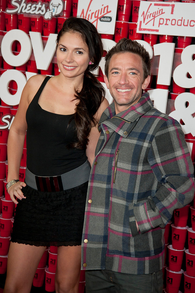 WESTWOOD, CA - FEBRUARY 21: Actress Christiana Leucas and David Faustino attend Relativity Media's '21 and Over' premiere at Westwood Village Theatre on Thursday, February 21, 2013 in Westwood, California. (Photo by Tom Sorensen/Moovieboy Pictures)