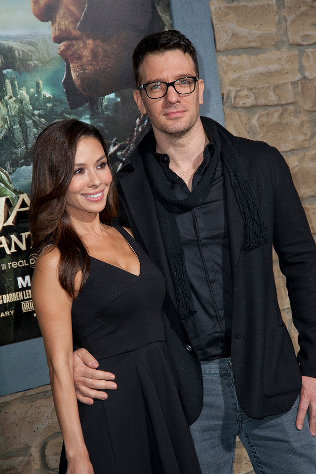 HOLLYWOOD, CA - FEBRUARY 26: Singer JC Chasez (R) and Kathryn Smith attend the premiere of New Line Cinema's 'Jack The Giant Slayer' at TCL Chinese Theatre on Tuesday, February 26, 2013 in Hollywood, California. (Photo by Tom Sorensen/Moovieboy Pictures)