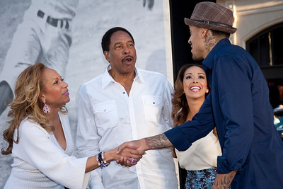 HOLLYWOOD, CA - APRIL 09: (L-R) Tonya Winfield, former Baseball Player Dave Winfield, Gloria Govan and Matt Barnes attend the Los Angeles Premiere of Warner Bros. Pictures' and Legendary Pictures' '42' at TCL Chinese Theatre on Tuesday, April 9, 2013 in Hollywood, California. (Photo by Tom Sorensen/Moovieboy Pictures)