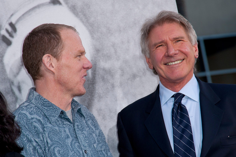 HOLLYWOOD, CA - APRIL 09: Director Brian Helgeland (L) and actor Harrison Ford attend the Los Angeles Premiere of Warner Bros. Pictures' and Legendary Pictures' '42' at TCL Chinese Theatre on Tuesday, April 9, 2013 in Hollywood, California. (Photo by Tom Sorensen/Moovieboy Pictures)
