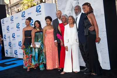 HOLLYWOOD, CA - APRIL 09: Rachel Robinson (in white), the widow of baseball legend Jackie Robinson, and her family attend the Los Angeles Premiere of Warner Bros. Pictures' and Legendary Pictures' '42' at TCL Chinese Theatre on Tuesday, April 9, 2013 in Hollywood, California. (Photo by Tom Sorensen/Moovieboy Pictures)