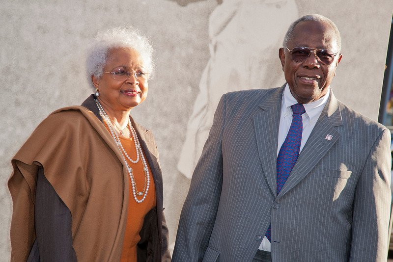 HOLLYWOOD, CA - APRIL 09: Baseball legend Hank Aaron (R) and his wife Billye (L) attend the Los Angeles Premiere of Warner Bros. Pictures' and Legendary Pictures' '42' at TCL Chinese Theatre on Tuesday, April 9, 2013 in Hollywood, California. (Photo by Tom Sorensen/Moovieboy Pictures)