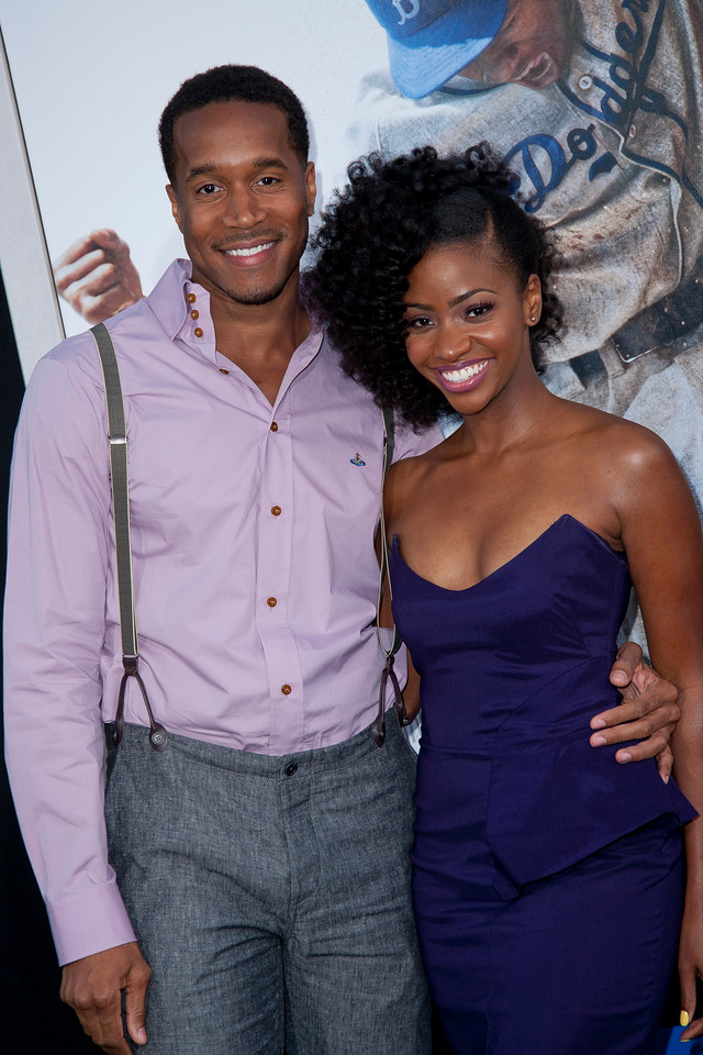 HOLLYWOOD, CA - APRIL 09: Terrence Colby and actress Teyonah Parris attend the Los Angeles Premiere of Warner Bros. Pictures' and Legendary Pictures' '42' at TCL Chinese Theatre on Tuesday, April 9, 2013 in Hollywood, California. (Photo by Tom Sorensen/Moovieboy Pictures)