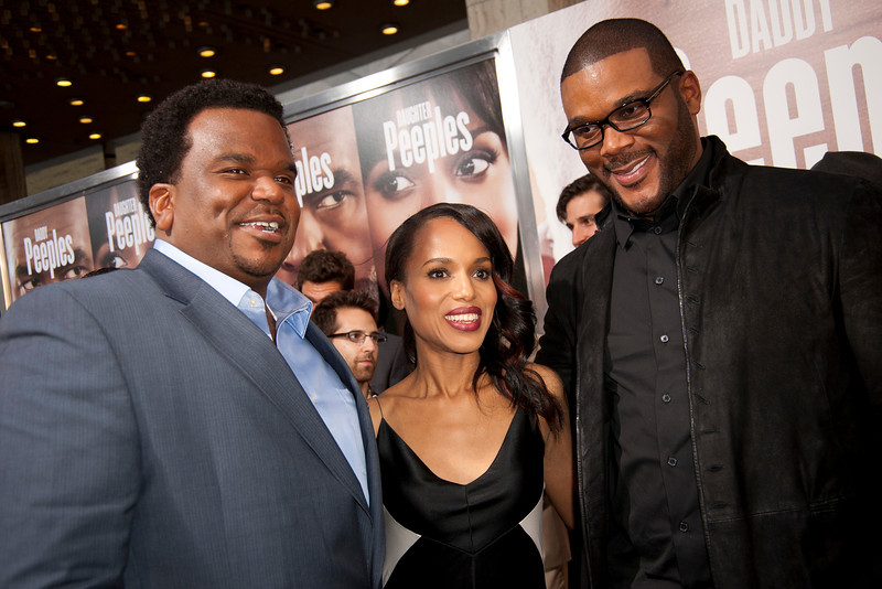 HOLLYWOOD, CA - MAY 08: Actors Craig Robinson, Kerry Washington, and Producer Tyler Perry attend the premiere of 'Peeples' presented by Lionsgate Film and Tyler Perry at ArcLight Hollywood on Wednesday, May 8, 2013 in Hollywood, California. (Photo by Tom Sorensen/Moovieboy Pictures)