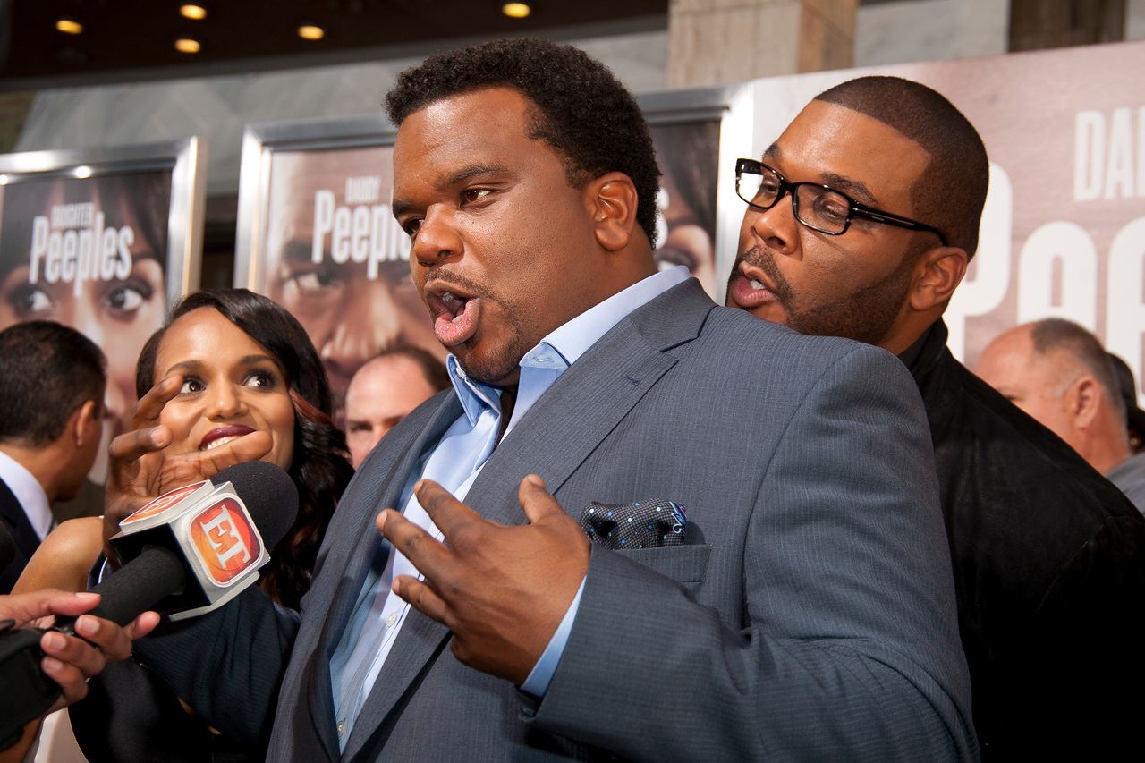 HOLLYWOOD, CA - MAY 08: Actors Kerry Washington, Craig Robinson, and Producer Tyler Perry attend the premiere of 'Peeples' presented by Lionsgate Film and Tyler Perry at ArcLight Hollywood on Wednesday, May 8, 2013 in Hollywood, California. (Photo by Tom Sorensen/Moovieboy Pictures)