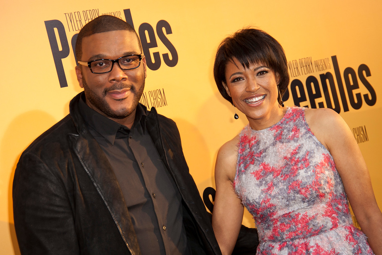 HOLLYWOOD, CA - MAY 08: Executive producer Tyler Perry and writer/director Tina Gordon Chism attend the premiere of 'Peeples' presented by Lionsgate Film and Tyler Perry at ArcLight Hollywood on Wednesday, May 8, 2013 in Hollywood, California. (Photo by Tom Sorensen/Moovieboy Pictures)