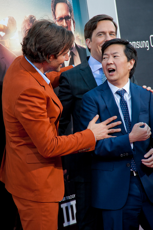 WESTWOOD, CA - MAY 20: Actors Bradley Cooper, Ken Jeong and Ed Helms attend the premiere of Warner Bros. Pictures' 'Hangover Part 3' at Westwood Village Theater on Monday, May 20, 2013 in Westwood, California. (Photo by Tom Sorensen/Moovieboy Pictures)