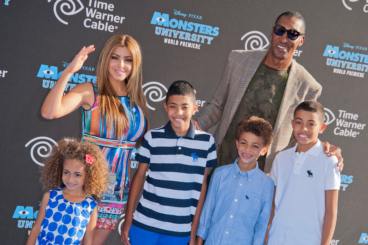 HOLLYWOOD, CA - JUNE 17: Larsa Pippen (L) and former basketball player Scottie Pippen attend the world premiere of Disney Pixar's 'Monsters University' at the El Capitan Theatre on Monday, June 17, 2013 in Hollywood, California. (Photo by Tom Sorensen/Moovieboy Pictures)