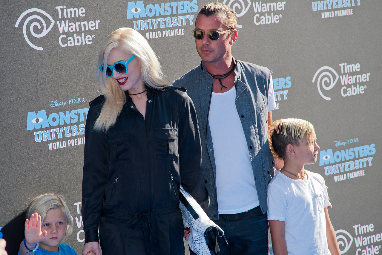 HOLLYWOOD, CA - JUNE 17: Gwen Stefani, Gavin Rossdale and sons Zuma and Kingston Rossdale attend the world premiere of Disney Pixar's 'Monsters University' at the El Capitan Theatre on Monday, June 17, 2013 in Hollywood, California. (Photo by Tom Sorensen/Moovieboy Pictures)