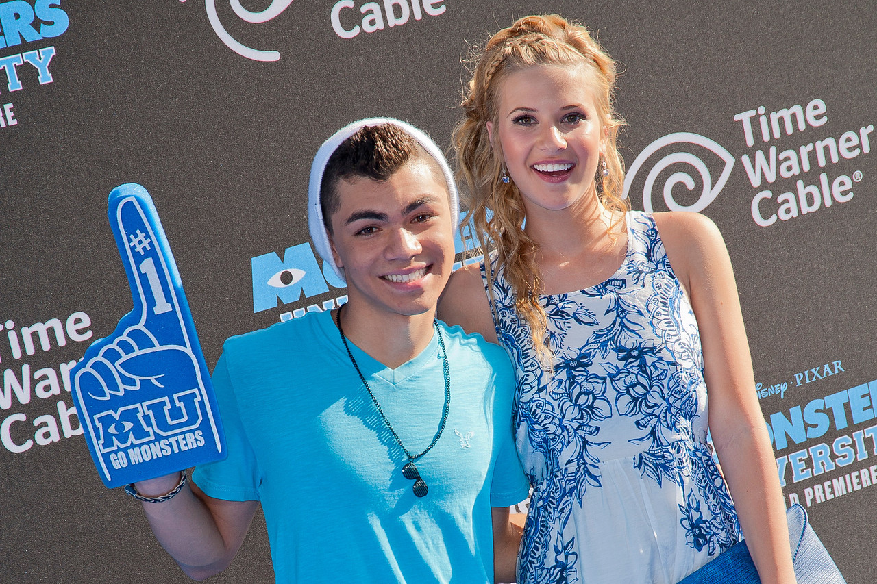 HOLLYWOOD, CA - JUNE 17: Actors Adam Irigoyen and Caroline Sunshine attend the world premiere of Disney Pixar's 'Monsters University' at the El Capitan Theatre on Monday, June 17, 2013 in Hollywood, California. (Photo by Tom Sorensen/Moovieboy Pictures)