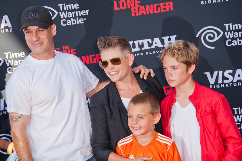 ANAHEIM, CA - JUNE 22: Actor Adrian Pasdar (L), singer Natalie Maines (C) and guests attend the premiere of Walt Disney Pictures' 'The Lone Ranger' at Disney California Adventure Park on Saturday, June 22, 2013 in Anaheim, California. (Photo by Tom Sorensen/Moovieboy Pictures)