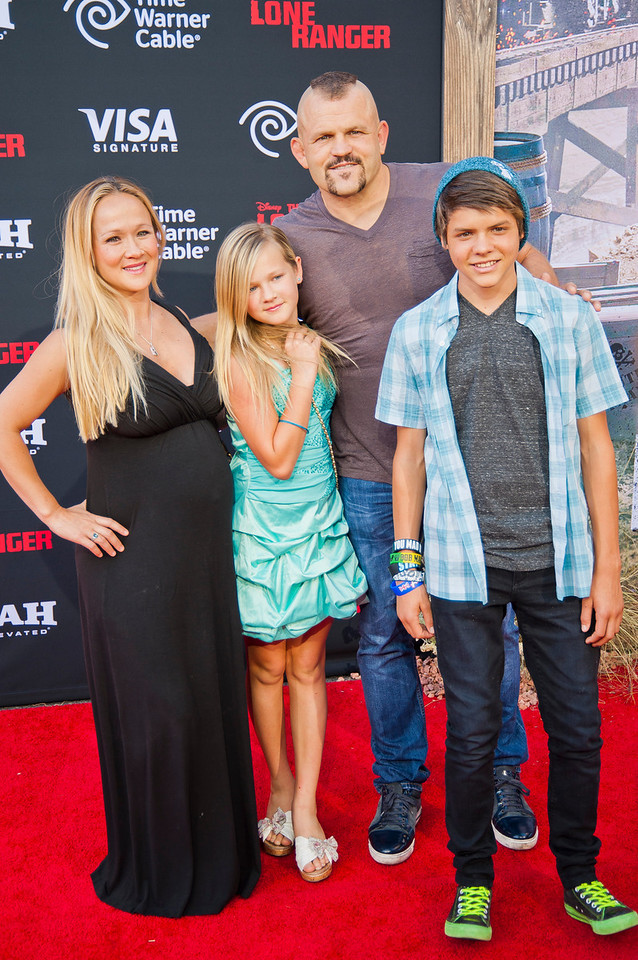ANAHEIM, CA - JUNE 22: Heidi Northcott (L), UFC fighter Chuck Liddell (2ndR) and guests attend the premiere of Walt Disney Pictures' 'The Lone Ranger' at Disney California Adventure Park on Saturday, June 22, 2013 in Anaheim, California. (Photo by Tom Sorensen/Moovieboy Pictures)