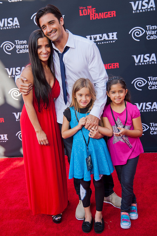 ANAHEIM, CA - JUNE 22: Actor Gilles Marini (C), wife Carole Marini and children attend the premiere of Walt Disney Pictures' 'The Lone Ranger' at Disney California Adventure Park on Saturday, June 22, 2013 in Anaheim, California. (Photo by Tom Sorensen/Moovieboy Pictures)