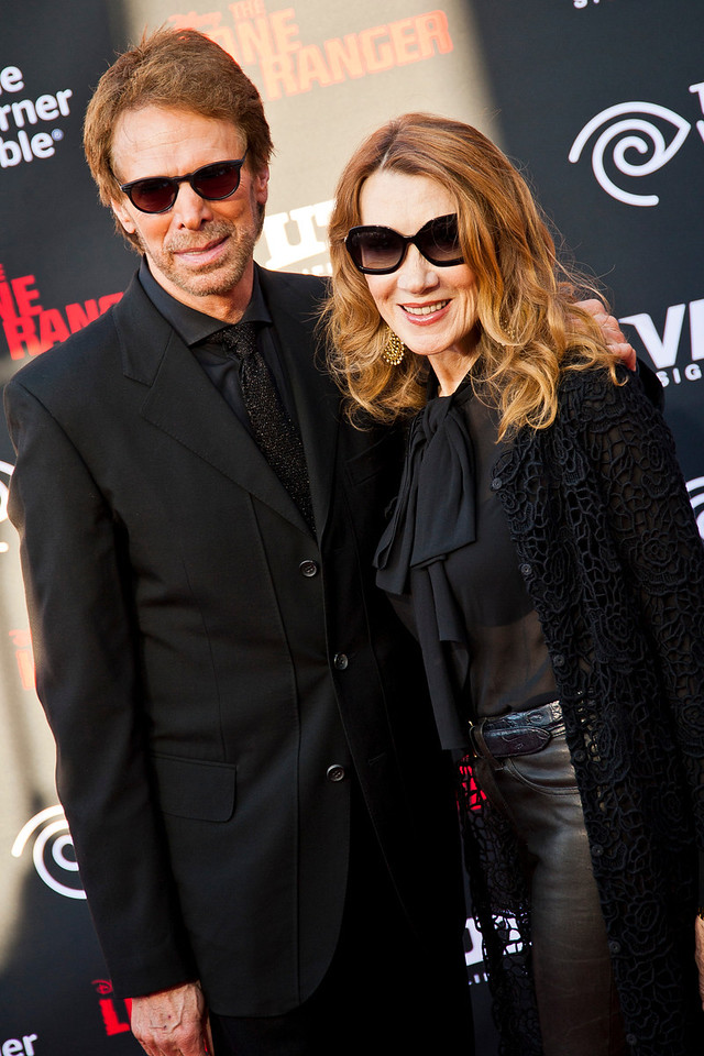 ANAHEIM, CA - JUNE 22: Producer Jerry Bruckheimer and Linda Bruckheimer attend the premiere of Walt Disney Pictures' 'The Lone Ranger' at Disney California Adventure Park on Saturday, June 22, 2013 in Anaheim, California. (Photo by Tom Sorensen/Moovieboy Pictures)