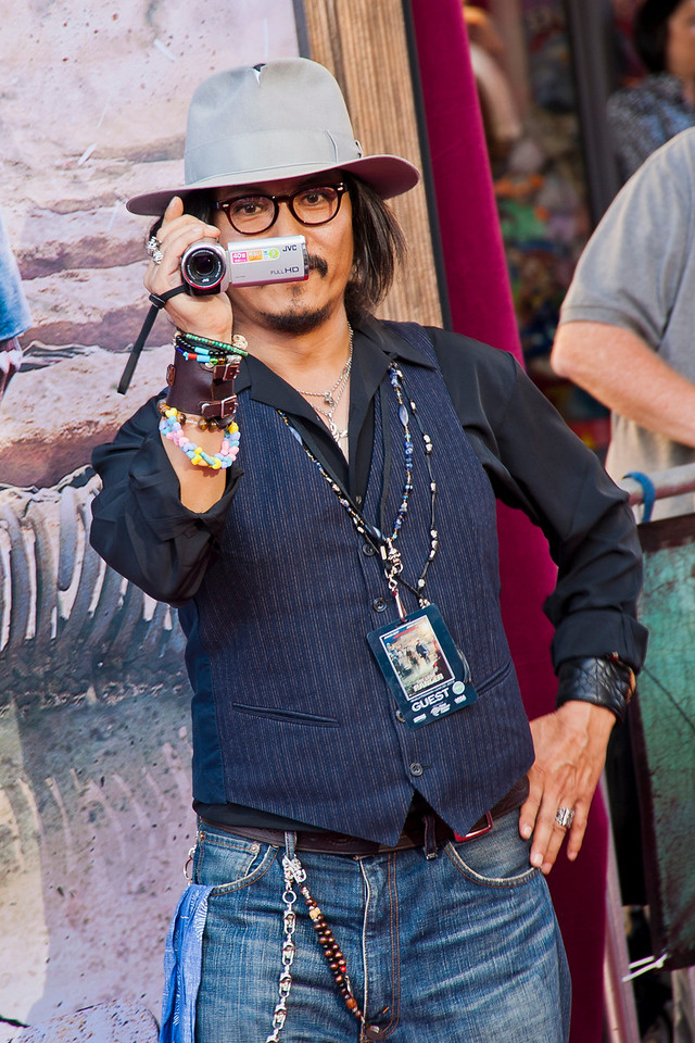 """ANAHEIM, CA - JUNE 22: A """"Johnny Depp"""" look-alike attends the premiere of Walt Disney Pictures' 'The Lone Ranger' at Disney California Adventure Park on Saturday, June 22, 2013 in Anaheim, California. (Photo by Tom Sorensen/Moovieboy Pictures)"""